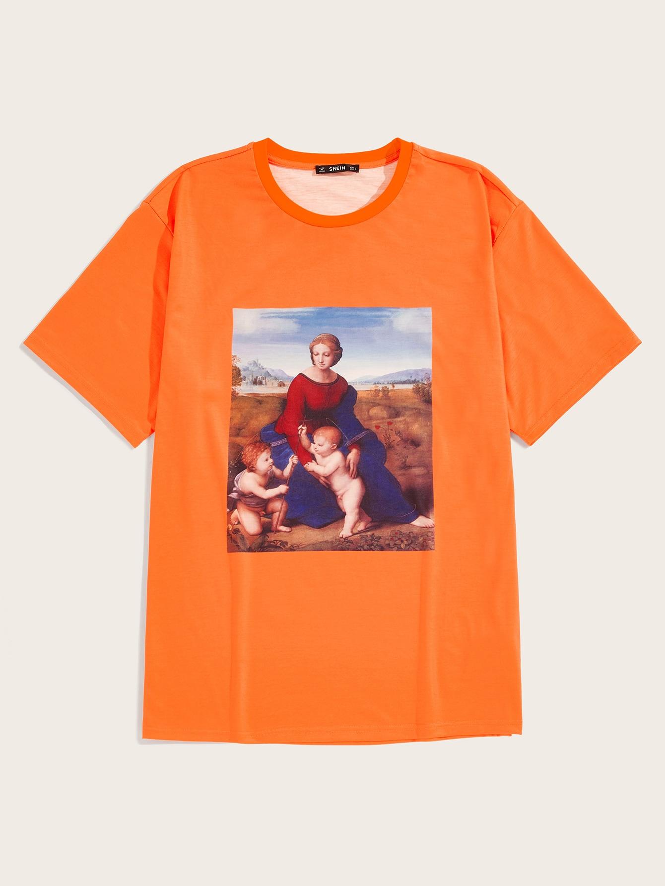 Фото - Мужская неоновая футболка с принтом от SheIn оранжевого цвета