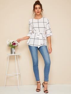 Flounce Sleeve Belted Grid Top