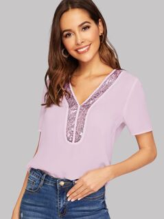 Contrast Sequin Trim Blouse