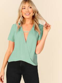 Plunging Neck Cut Out Front Wrap Draped Top