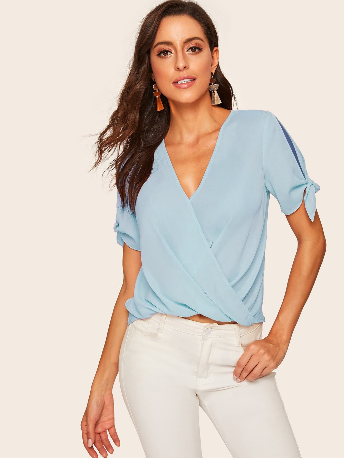 cd553ae420d50 Knot Cuff Wrap Front Blouse, Mary P. - shein.com - imall.com
