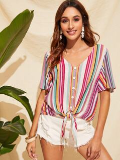 Knot Front Colorblock Striped Blouse