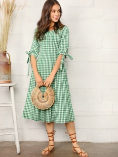 Knotted Cuff Gingham Fit & Flare Dress