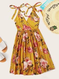 Knot Strap Backless Floral Print Wrap Dress