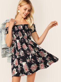 Off Shoulder Shirred Bodice Floral Dress