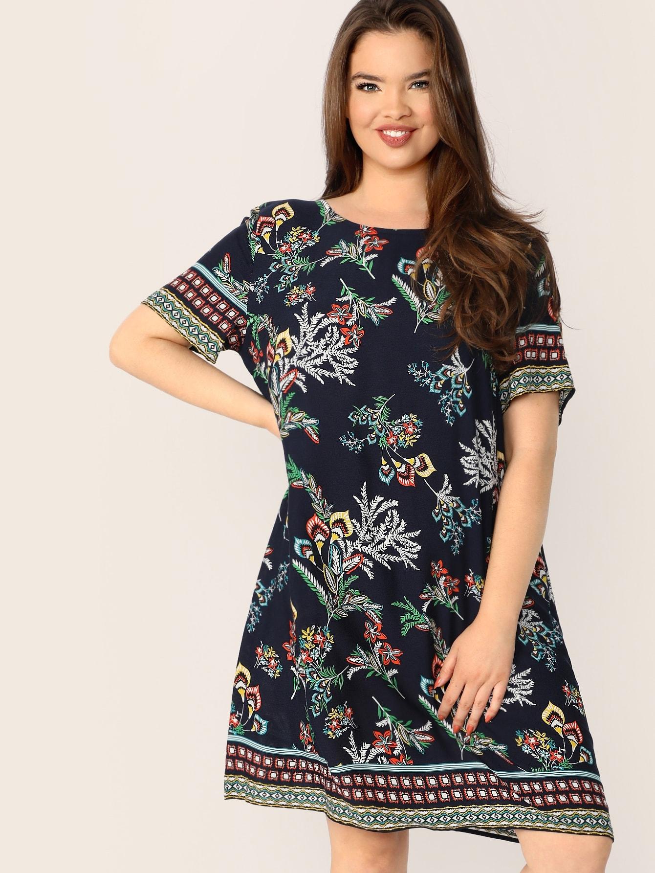 Фото - Размер плюс платье с принтом от SheIn цвет тёмно-синие