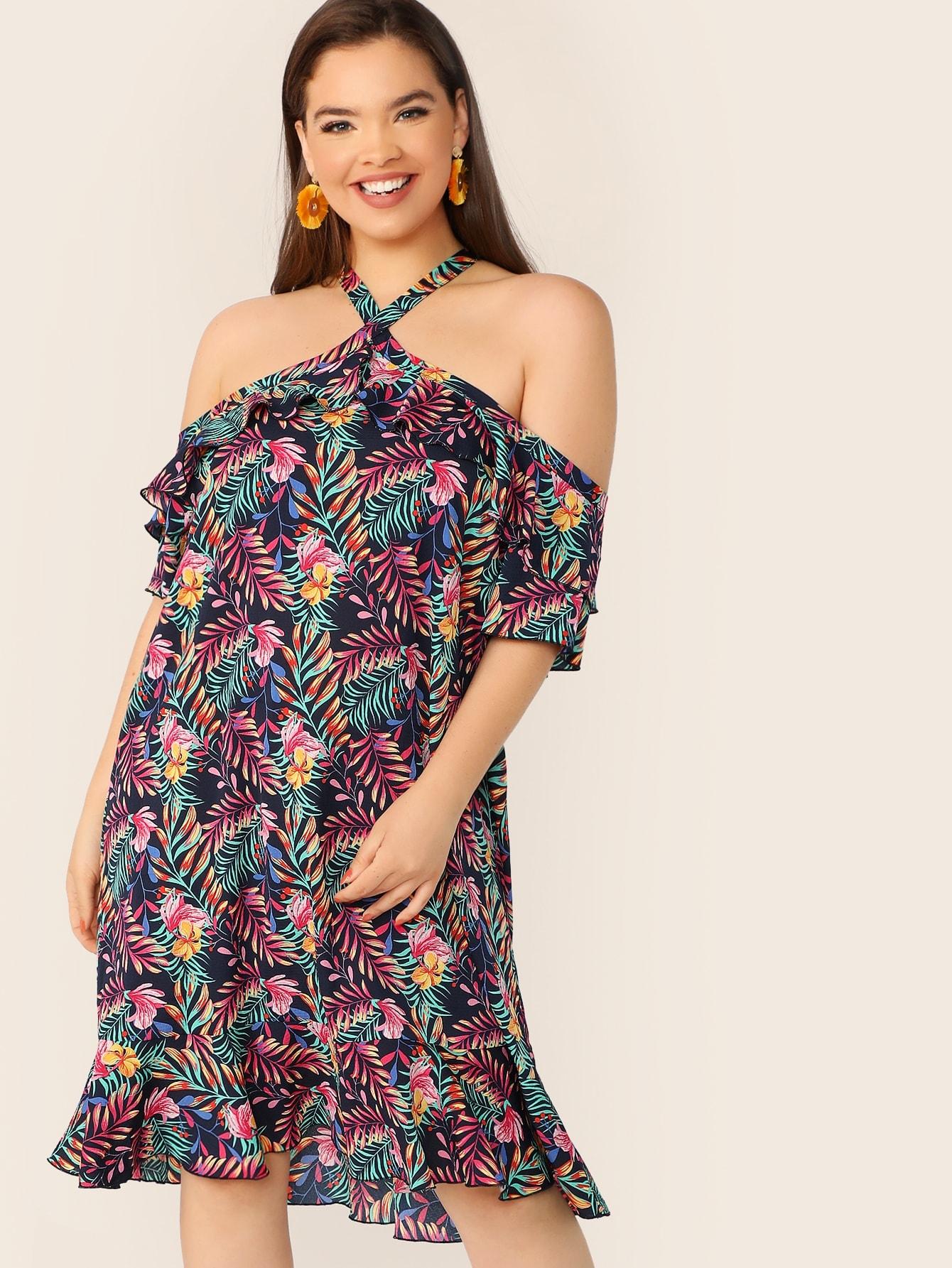 Фото - Размер плюс платье с оборкой и кулиской и тропическим принтом от SheIn цвет многихцветные