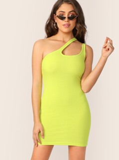 Neon Lime Cutout One Shoulder Rib-knit Dress