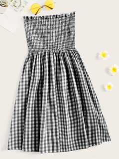 Frill Trim Shirred Bodice Gingham Tube Dress