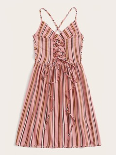 Crisscross Lace Up Tie Back Striped Sundress