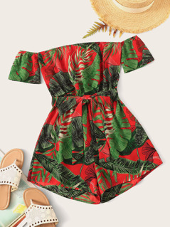 Off Shoulder Tie Front Tropical Romper