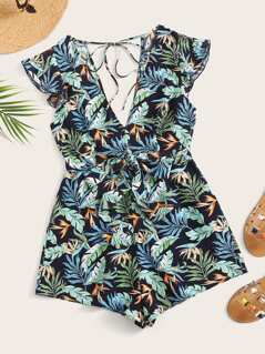 Plunge Neck Tied Back Tropical Playsuit