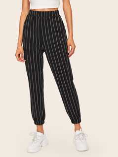 Slant Pocket Vertical Striped Crop Pants