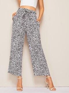 Paperbag Waist Belted Dalmatian Wide Leg Pants