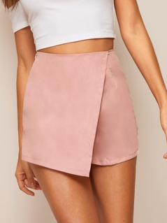 Asymmetrical Hem Solid Wrap Shorts
