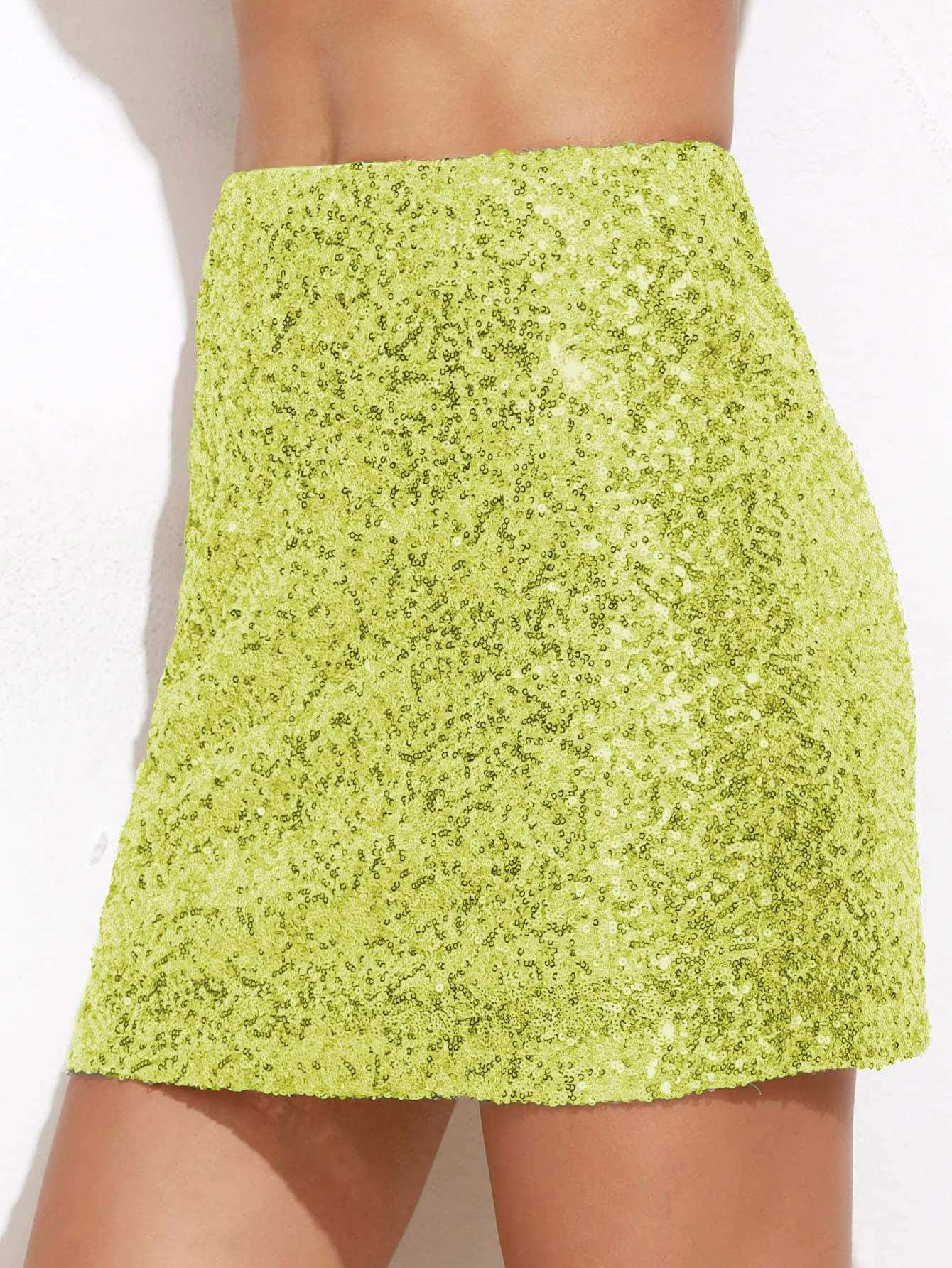 Неоновая зеленая юбка с блестками