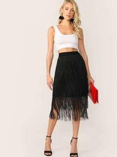 Layered Fringe Overlay Skirt