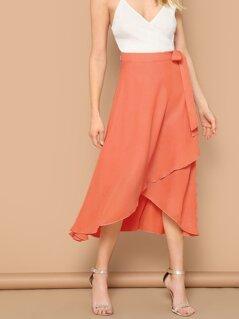 Tie Waist Asymmetrical Hem Wrap Skirt