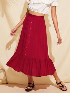 Zipper Side Button Front Ruffle Hem Skirt