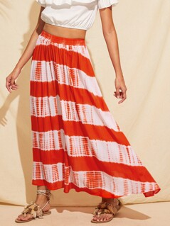 Two Tone Tie Dye Maxi Skirt
