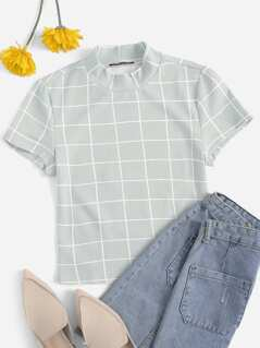 Mock-neck Grid Top