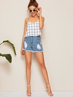 Grid Crop Cami Top
