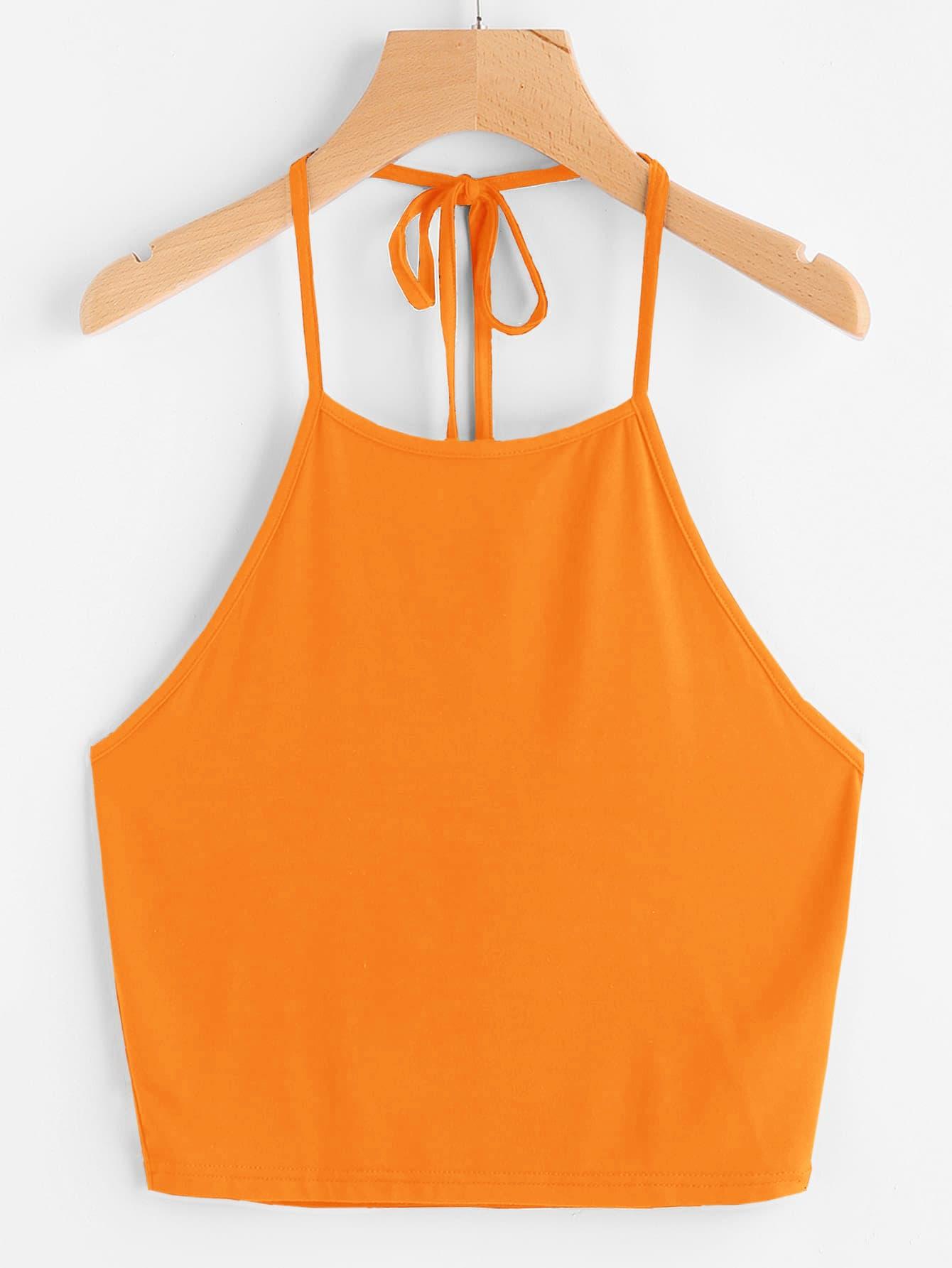 Фото - Топ-халтер с узлом сзади от SheIn цвет оарнжевый