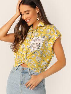 Ditsy Floral Twist Front Pocket Shirt