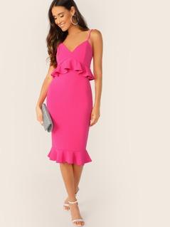 Neon Pink Bodycon Peplum Slip Dress