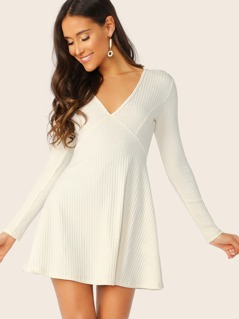 V-Neck Rib-knit Flare Dress