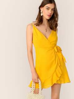 Ruffle Hem Self Tie Wrap Slip Dress