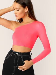 Neon Pink One Shoulder Crop Tee