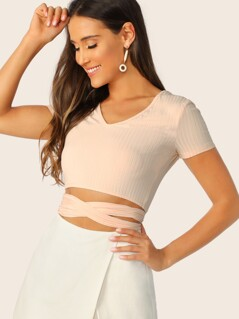 Crisscross Self Belted Rib-knit Crop Top