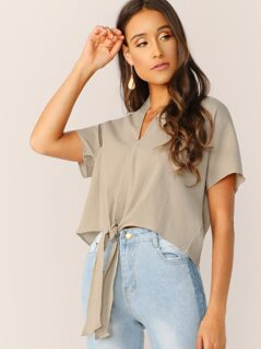 V-Neck Tie Hem Loose Fit Gauze Top