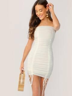 Drawstring Ruched Stretch Strapless Mini Dress