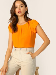 Neon Orange Keyhole Back Petal Sleeve Solid Top
