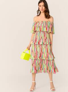 Off Shoulder Layered Ruffle Trim Colorful Striped Dress