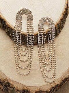 Looped Rhinestone Crystal Tassel Dangling Earrings