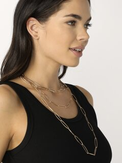 Stud Earrings And Large Layer Chain Link Necklace