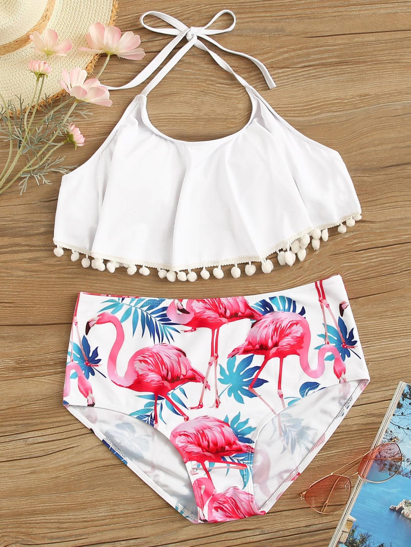 2db80e517f Pom Pom Top With Random Flamingo Print Bikini, null - shein.com - imall.com