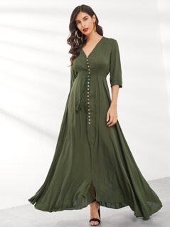Button Through Tassel Tie Shirred Maxi Dress