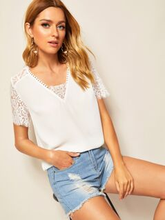 Sheer Lace Insert Textured Top