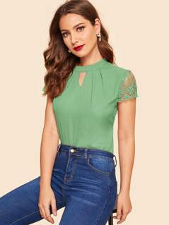 50s Zip Back Lace Sleeve Pleated Detail Top