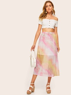 Elastic Waist Tie Dye Skirt