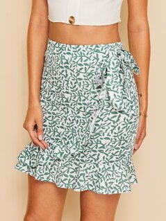 Plants Print Tie Waist Wrap Skirt