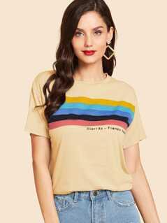 Rainbow Striped & Letter Print Tee