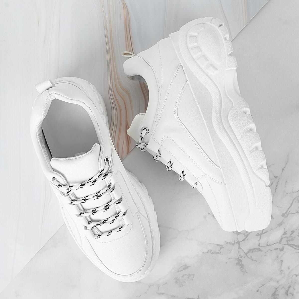 Wit Comfortabel Vlak sneakers Kant