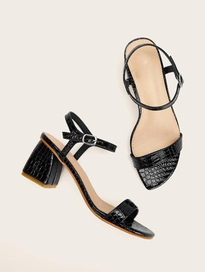SheIn / Crocodile Pattern Slingback Chunky Heels
