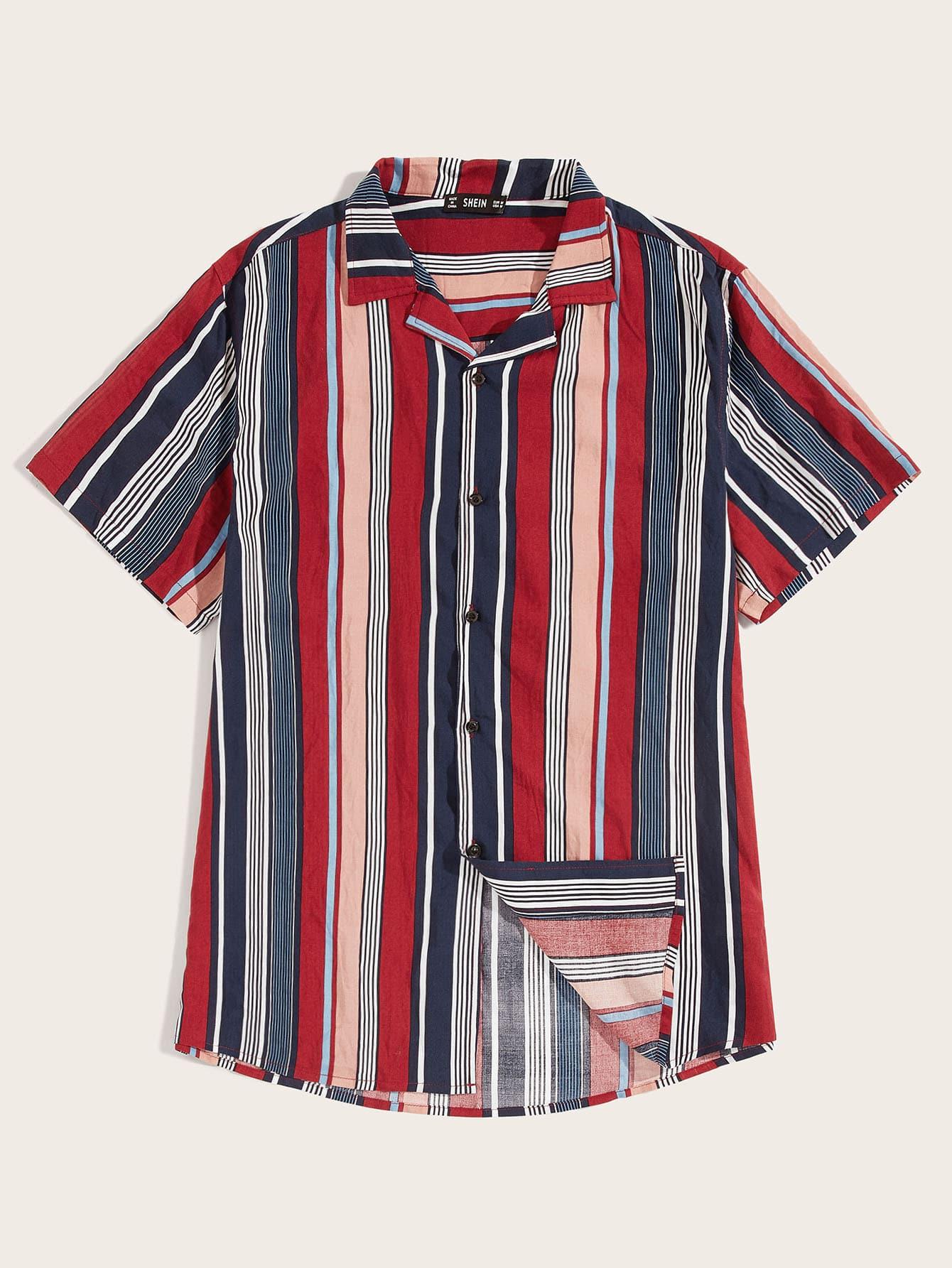 e2f9721c51 Men Notched Colorblock Striped Shirt | SHEIN