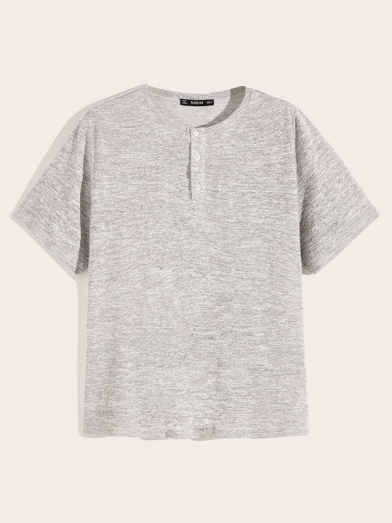 Фото - Мужская футболка с пуговицами от SheIn серого цвета